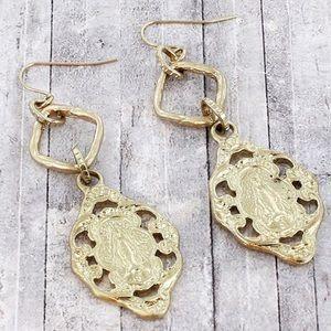 ⚡️🆕 Dangling Worn Goldtone Saint Drop Earrings